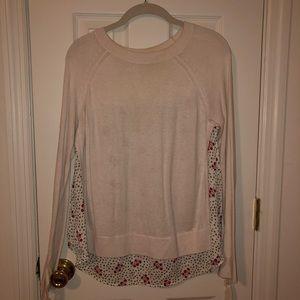 Pattern-back tie sleeve sweater